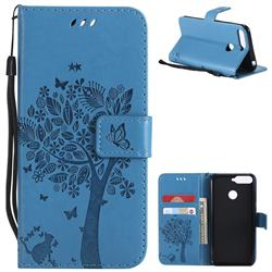 Embossing Butterfly Tree Leather Wallet Case for Huawei Y6 (2018) - Blue