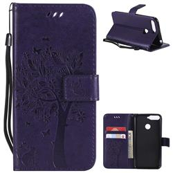 Embossing Butterfly Tree Leather Wallet Case for Huawei Y6 (2018) - Purple