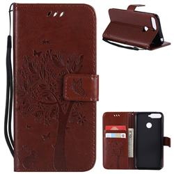 Embossing Butterfly Tree Leather Wallet Case for Huawei Y6 (2018) - Brown