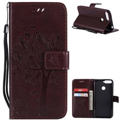 Embossing Butterfly Tree Leather Wallet Case for Huawei Y6 (2018) - Coffee