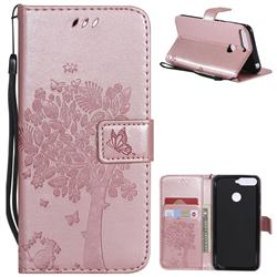 Embossing Butterfly Tree Leather Wallet Case for Huawei Y6 (2018) - Rose Pink