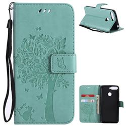 Embossing Butterfly Tree Leather Wallet Case for Huawei Y6 (2018) - Cyan