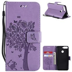 Embossing Butterfly Tree Leather Wallet Case for Huawei Y6 (2018) - Violet