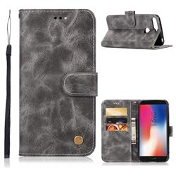 Luxury Retro Leather Wallet Case for Huawei Y6 (2018) - Gray