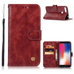 Luxury Retro Leather Wallet Case for Huawei Y6 (2018) - Wine Red
