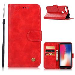 Luxury Retro Leather Wallet Case for Huawei Y6 (2018) - Red