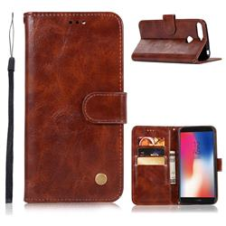 Luxury Retro Leather Wallet Case for Huawei Y6 (2018) - Brown
