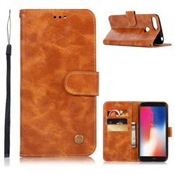 Luxury Retro Leather Wallet Case for Huawei Y6 (2018) - Golden