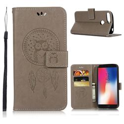Intricate Embossing Owl Campanula Leather Wallet Case for Huawei Y6 (2018) - Grey