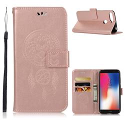 Intricate Embossing Owl Campanula Leather Wallet Case for Huawei Y6 (2018) - Rose Gold