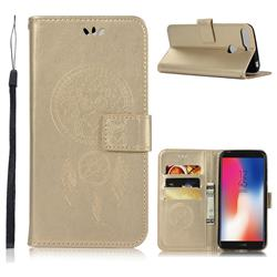 Intricate Embossing Owl Campanula Leather Wallet Case for Huawei Y6 (2018) - Champagne