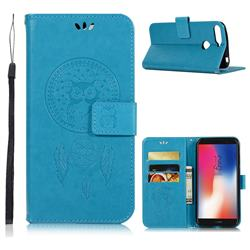 Intricate Embossing Owl Campanula Leather Wallet Case for Huawei Y6 (2018) - Blue