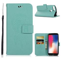 Intricate Embossing Owl Campanula Leather Wallet Case for Huawei Y6 (2018) - Green