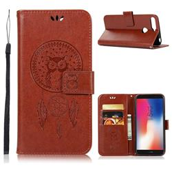Intricate Embossing Owl Campanula Leather Wallet Case for Huawei Y6 (2018) - Brown