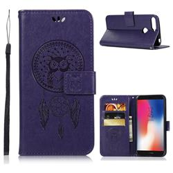 Intricate Embossing Owl Campanula Leather Wallet Case for Huawei Y6 (2018) - Purple