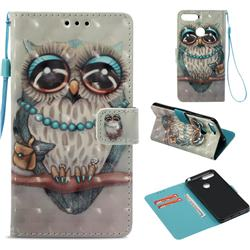 Sweet Gray Owl 3D Painted Leather Wallet Case for Huawei Y6 (2018)