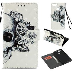 Skull Flower 3D Painted Leather Wallet Case for Huawei Y6 (2018)