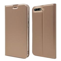 Ultra Slim Card Magnetic Automatic Suction Leather Wallet Case for Huawei Y6 (2018) - Rose Gold