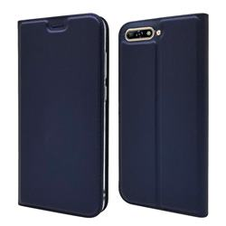 Ultra Slim Card Magnetic Automatic Suction Leather Wallet Case for Huawei Y6 (2018) - Royal Blue