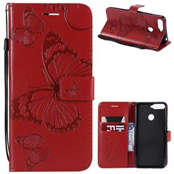 Embossing 3D Butterfly Leather Wallet Case for Huawei Y6 (2018) - Red