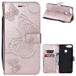 Embossing 3D Butterfly Leather Wallet Case for Huawei Y6 (2018) - Rose Gold