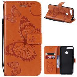 Embossing 3D Butterfly Leather Wallet Case for Huawei Y6 (2018) - Orange