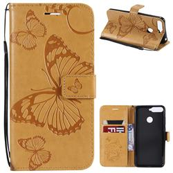 Embossing 3D Butterfly Leather Wallet Case for Huawei Y6 (2018) - Yellow