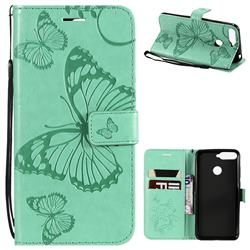 Embossing 3D Butterfly Leather Wallet Case for Huawei Y6 (2018) - Green