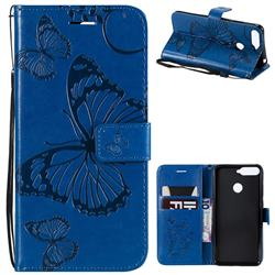 Embossing 3D Butterfly Leather Wallet Case for Huawei Y6 (2018) - Blue