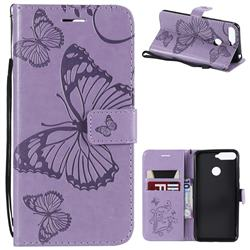 Embossing 3D Butterfly Leather Wallet Case for Huawei Y6 (2018) - Purple