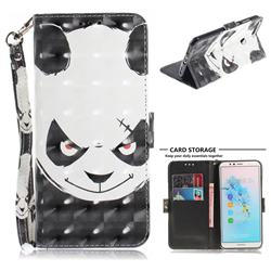 Angry Bear 3D Painted Leather Wallet Phone Case for Huawei Y6 (2018)
