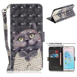 Cat Embrace 3D Painted Leather Wallet Phone Case for Huawei Y6 (2018)