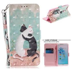 Black and White Cat 3D Painted Leather Wallet Phone Case for Huawei Y6 (2018)