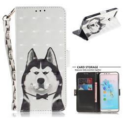 Husky Dog 3D Painted Leather Wallet Phone Case for Huawei Y6 (2018)