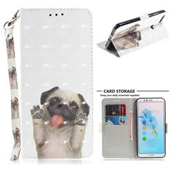 Pug Dog 3D Painted Leather Wallet Phone Case for Huawei Y6 (2018)