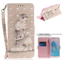 Three Squirrels 3D Painted Leather Wallet Phone Case for Huawei Y6 (2018)