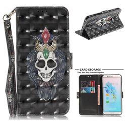 Skull Cat 3D Painted Leather Wallet Phone Case for Huawei Y6 (2018)