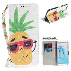 Pineapple Glasses 3D Painted Leather Wallet Phone Case for Huawei Y6 (2018)
