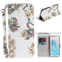 Dragon Flower 3D Painted Leather Wallet Phone Case for Huawei Y6 (2018)