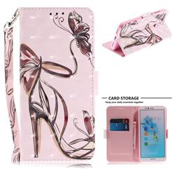 Butterfly High Heels 3D Painted Leather Wallet Phone Case for Huawei Y6 (2018)