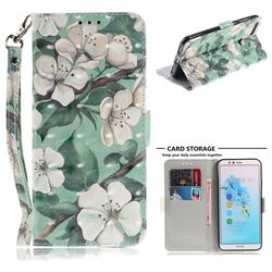Watercolor Flower 3D Painted Leather Wallet Phone Case for Huawei Y6 (2018)