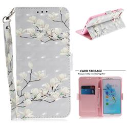 Magnolia Flower 3D Painted Leather Wallet Phone Case for Huawei Y6 (2018)