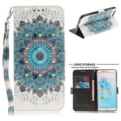 Peacock Mandala 3D Painted Leather Wallet Phone Case for Huawei Y6 (2018)