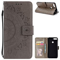 Intricate Embossing Datura Leather Wallet Case for Huawei Y6 (2018) - Gray
