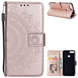 Intricate Embossing Datura Leather Wallet Case for Huawei Y6 (2018) - Rose Gold