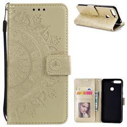 Intricate Embossing Datura Leather Wallet Case for Huawei Y6 (2018) - Golden