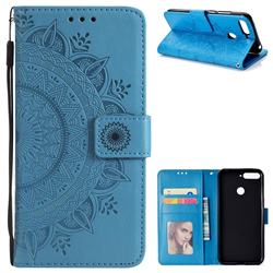 Intricate Embossing Datura Leather Wallet Case for Huawei Y6 (2018) - Blue