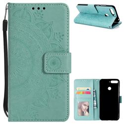 Intricate Embossing Datura Leather Wallet Case for Huawei Y6 (2018) - Mint Green