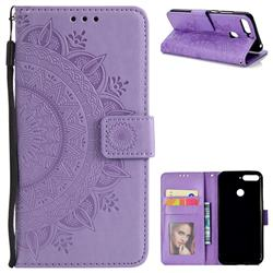 Intricate Embossing Datura Leather Wallet Case for Huawei Y6 (2018) - Purple