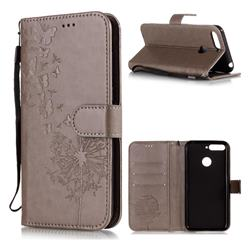 Intricate Embossing Dandelion Butterfly Leather Wallet Case for Huawei Y6 (2018) - Gray